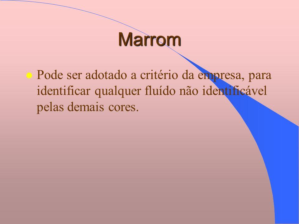 Marrom l Pode ser adotado a critério da empresa, para identificar qualquer fluído não identificável pelas demais cores.