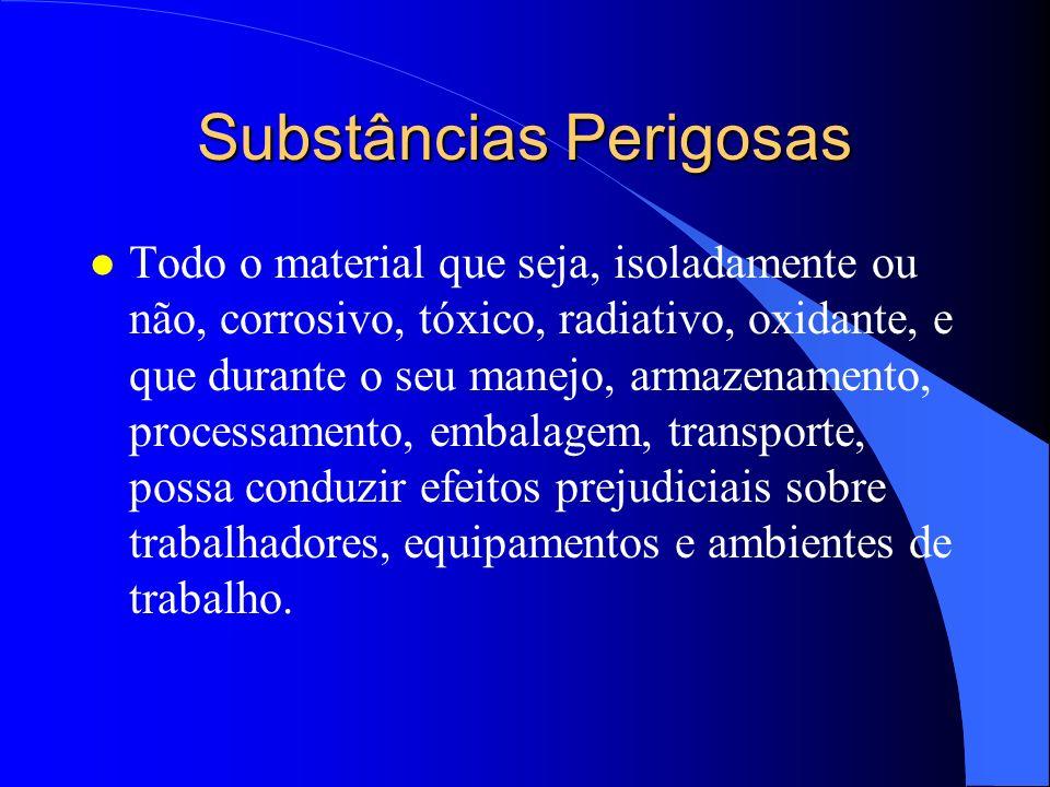 Substâncias Perigosas l Todo o material que seja, isoladamente ou não, corrosivo, tóxico, radiativo, oxidante, e que durante o seu manejo, armazenamen