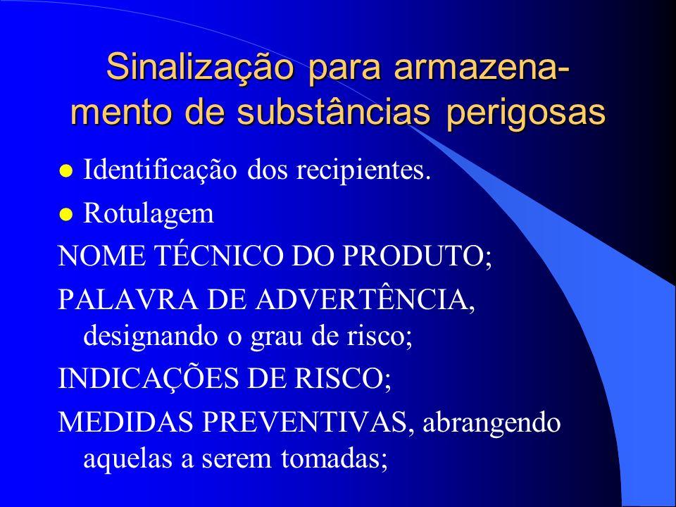 Sinalização para armazena- mento de substâncias perigosas l Identificação dos recipientes. l Rotulagem NOME TÉCNICO DO PRODUTO; PALAVRA DE ADVERTÊNCIA