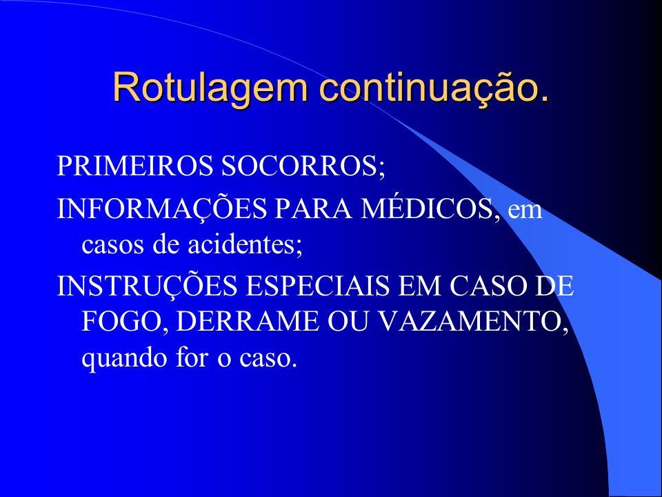 Rotulagem continuação. PRIMEIROS SOCORROS; INFORMAÇÕES PARA MÉDICOS, em casos de acidentes; INSTRUÇÕES ESPECIAIS EM CASO DE FOGO, DERRAME OU VAZAMENTO