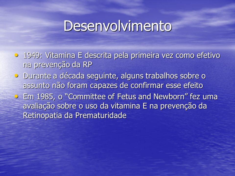 Desenvolvimento 1949: Vitamina E descrita pela primeira vez como efetivo na prevenção da RP 1949: Vitamina E descrita pela primeira vez como efetivo n