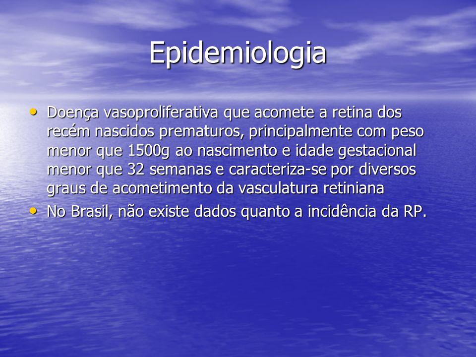 Epidemiologia Doença vasoproliferativa que acomete a retina dos recém nascidos prematuros, principalmente com peso menor que 1500g ao nascimento e ida