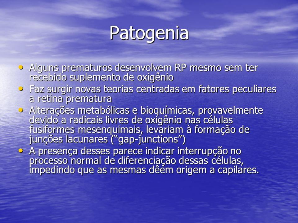 Patogenia Alguns prematuros desenvolvem RP mesmo sem ter recebido suplemento de oxigênio Alguns prematuros desenvolvem RP mesmo sem ter recebido suple