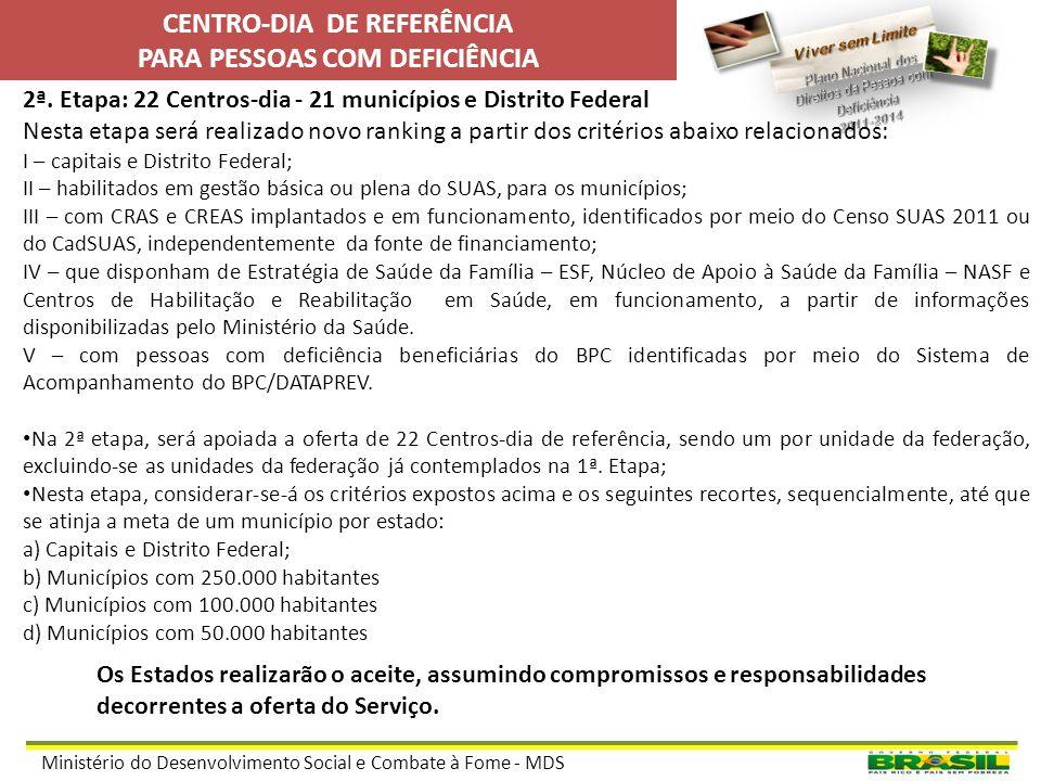 Ministério do Desenvolvimento Social e Combate à Fome - MDS IMPLANTAÇÃO DE CENTROS-DIA DE REFERÊNCIA EM 2012 Meta – 27 Centros-dia – 1 (um) por unidad