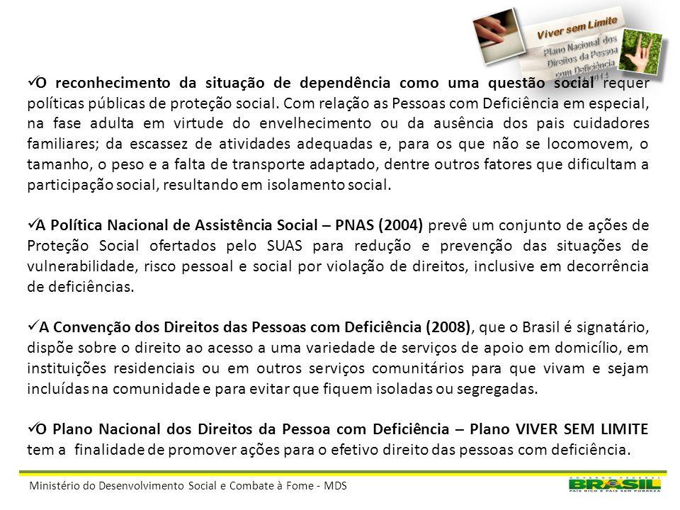 Ministério do Desenvolvimento Social e Combate à Fome - MDS CONCEITOS ADOTADOS: Pessoas com Deficiência são aquelas que têm impedimentos de longo praz