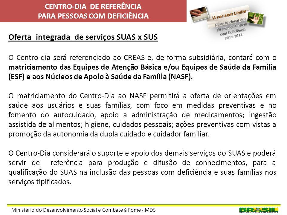 Ministério do Desenvolvimento Social e Combate à Fome - MDS Objetivos do serviço no Centro-dia de Referência: Prevenir as situações de negligência, ab