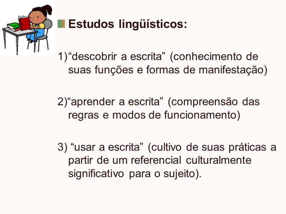 Estudos lingüísticos: 1)descobrir a escrita (conhecimento de suas funções e formas de manifestação) 2)aprender a escrita (compreensão das regras e mod