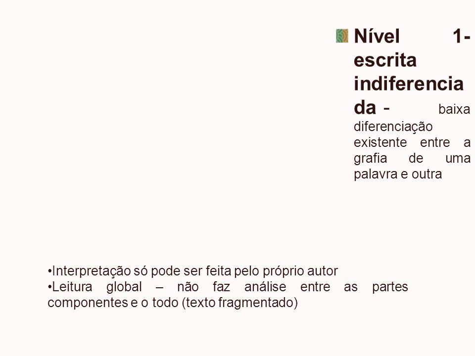 Nível 1- escrita indiferencia da- baixa diferenciação existente entre a grafia de uma palavra e outra Interpretação só pode ser feita pelo próprio aut