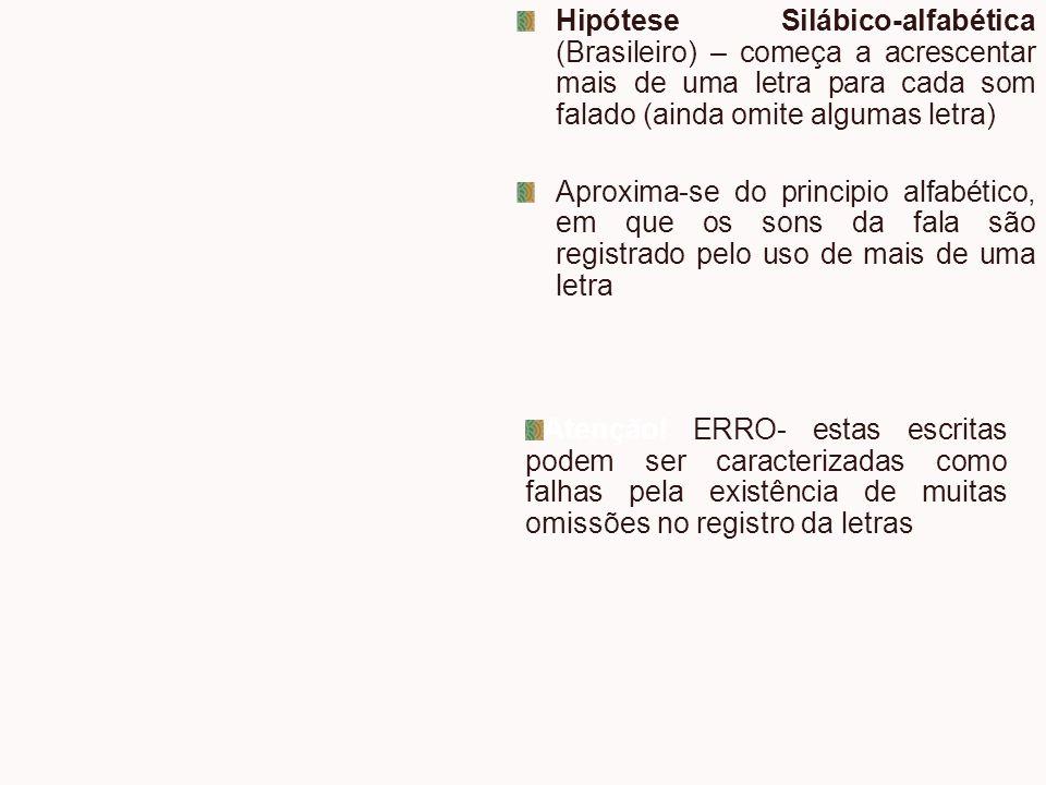 Hipótese Silábico-alfabética (Brasileiro) – começa a acrescentar mais de uma letra para cada som falado (ainda omite algumas letra) Aproxima-se do pri