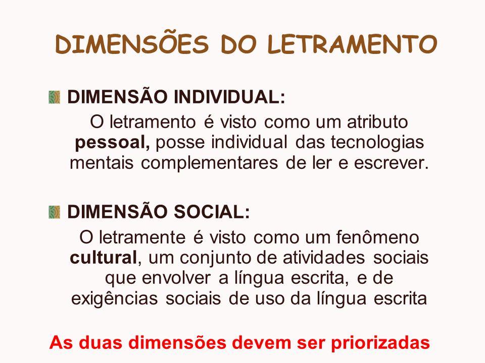 DIMENSÕES DO LETRAMENTO DIMENSÃO INDIVIDUAL: O letramento é visto como um atributo pessoal, posse individual das tecnologias mentais complementares de