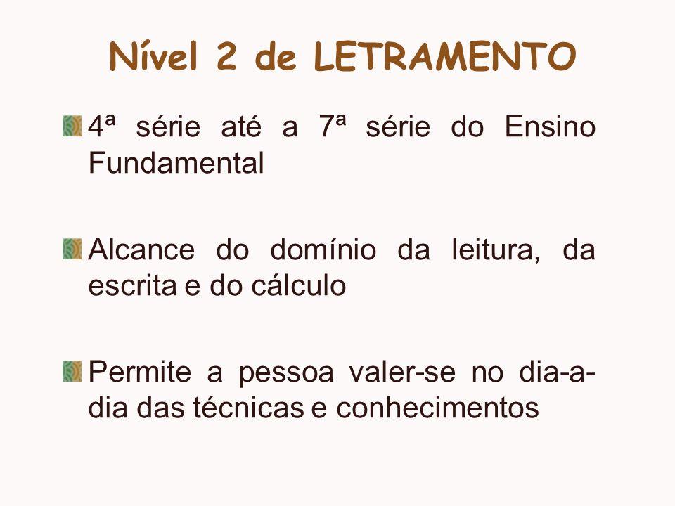 Nível 2 de LETRAMENTO 4ª série até a 7ª série do Ensino Fundamental Alcance do domínio da leitura, da escrita e do cálculo Permite a pessoa valer-se n