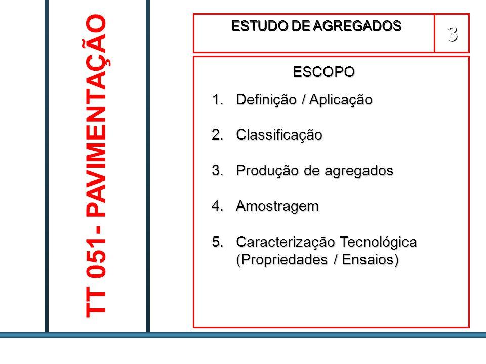 ESTUDOS DE AGREGADOS / 63 Agregados Graúdos: ASTM C127 - AASHTO T85 DNER ME 081/94 - NBR 9937 Gsa = A Densidade Real A - C Gsb = A Densidade Aparente B - C a = (B - A) x 100 Absorção A A – Peso do agregado seco em estufa B – Peso do agregado na condição Saturada Superfície Seca C – Peso do agregado imerso em água Ensaios para Determinação da Densidade de Agregados