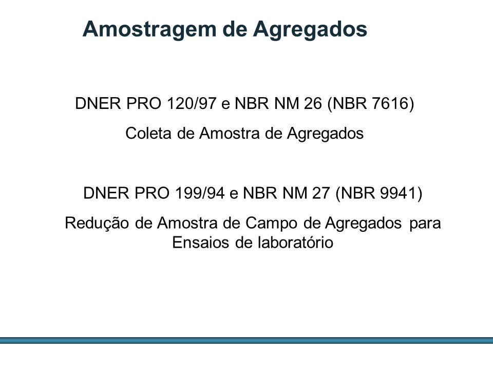 ESTUDOS DE AGREGADOS / 22 DNER PRO 120/97 e NBR NM 26 (NBR 7616) Coleta de Amostra de Agregados DNER PRO 199/94 e NBR NM 27 (NBR 9941) Redução de Amos