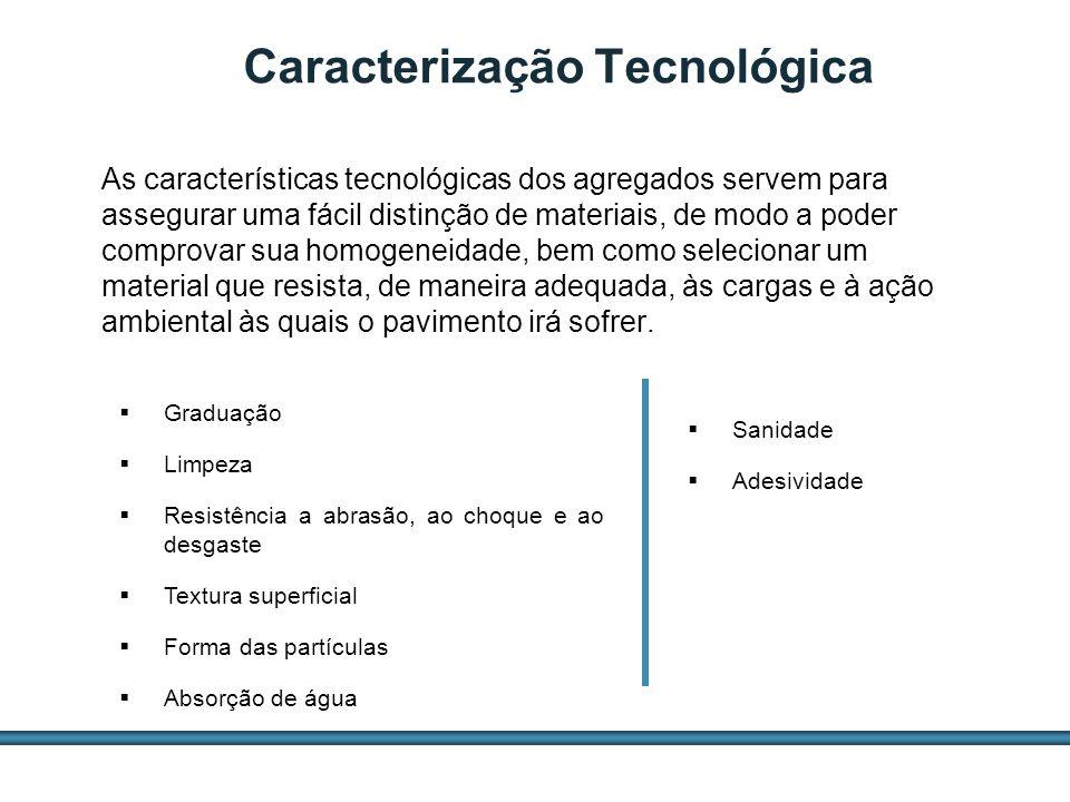 ESTUDOS DE AGREGADOS / 27 Caracterização Tecnológica As características tecnológicas dos agregados servem para assegurar uma fácil distinção de materi