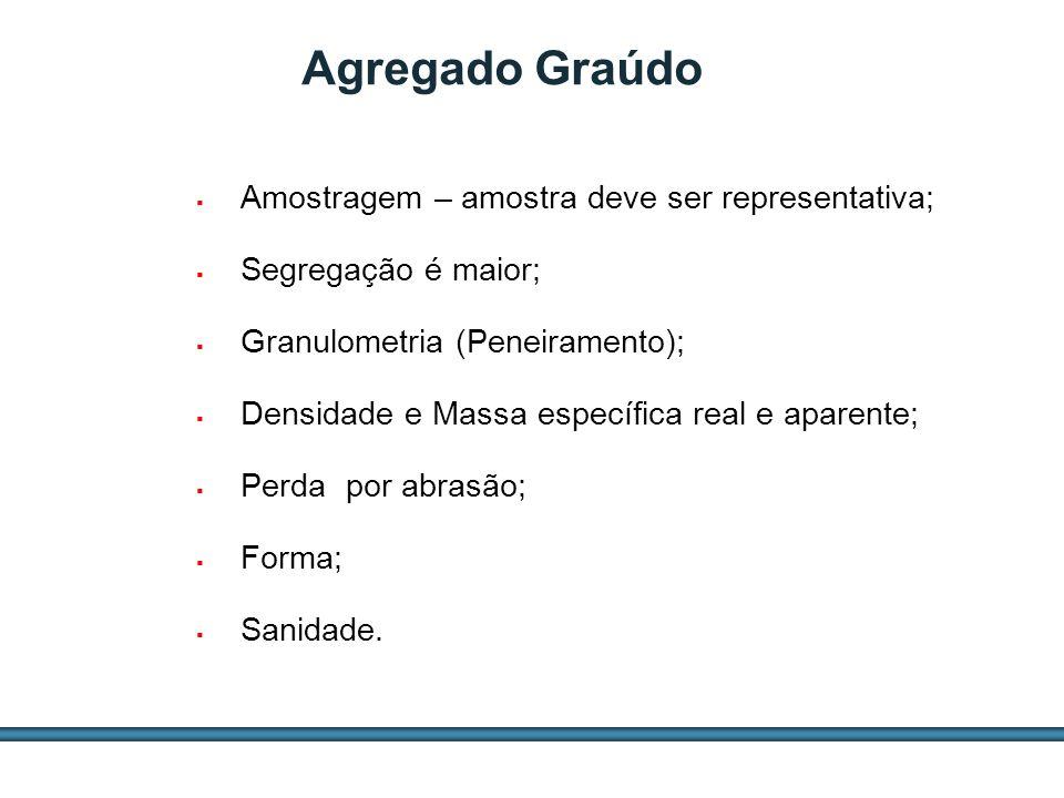 ESTUDOS DE AGREGADOS / 28 Agregado Graúdo Amostragem – amostra deve ser representativa; Segregação é maior; Granulometria (Peneiramento); Densidade e