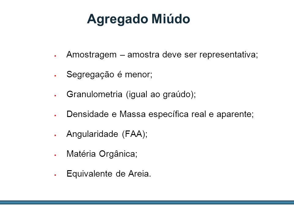 ESTUDOS DE AGREGADOS / 29 Agregado Miúdo Amostragem – amostra deve ser representativa; Segregação é menor; Granulometria (igual ao graúdo); Densidade