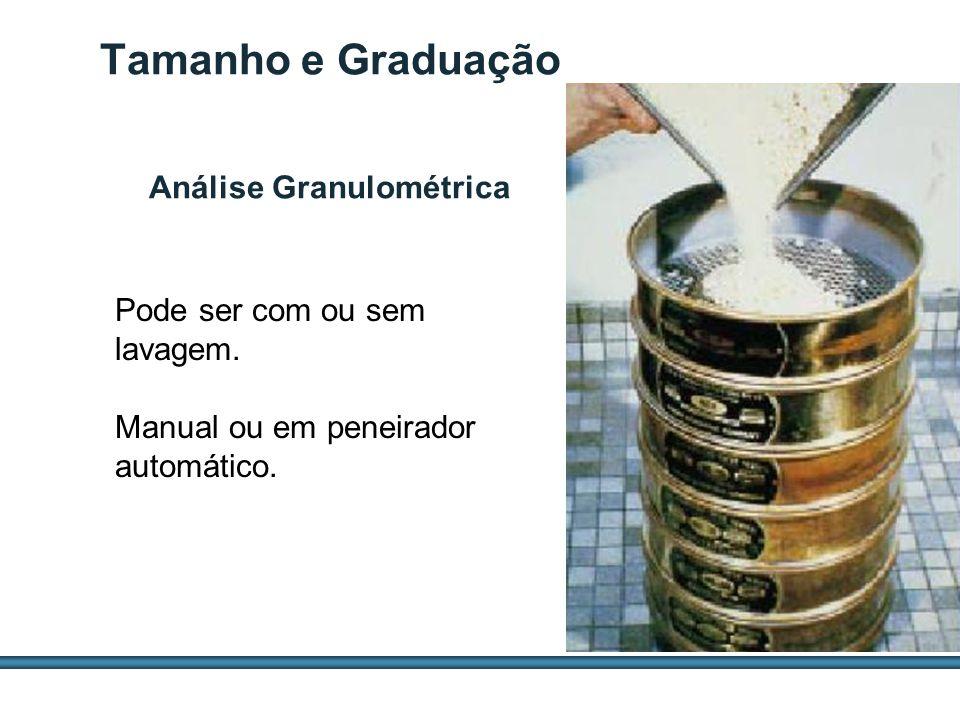 ESTUDOS DE AGREGADOS / 31 Tamanho e Graduação Pode ser com ou sem lavagem. Manual ou em peneirador automático. Análise Granulométrica