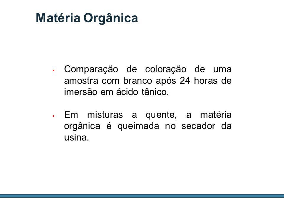 ESTUDOS DE AGREGADOS / 39 Matéria Orgânica Comparação de coloração de uma amostra com branco após 24 horas de imersão em ácido tânico. Em misturas a q