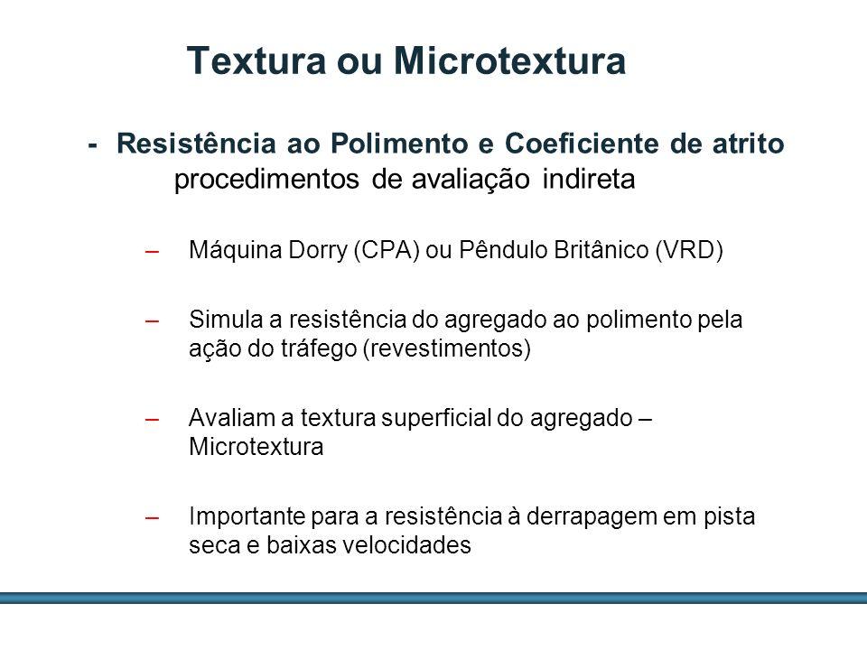 ESTUDOS DE AGREGADOS / 49 –Máquina Dorry (CPA) ou Pêndulo Britânico (VRD) –Simula a resistência do agregado ao polimento pela ação do tráfego (revesti