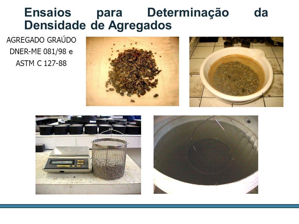 ESTUDOS DE AGREGADOS / 61 AGREGADO GRAÚDO DNER-ME 081/98 e ASTM C 127-88 Ensaios para Determinação da Densidade de Agregados