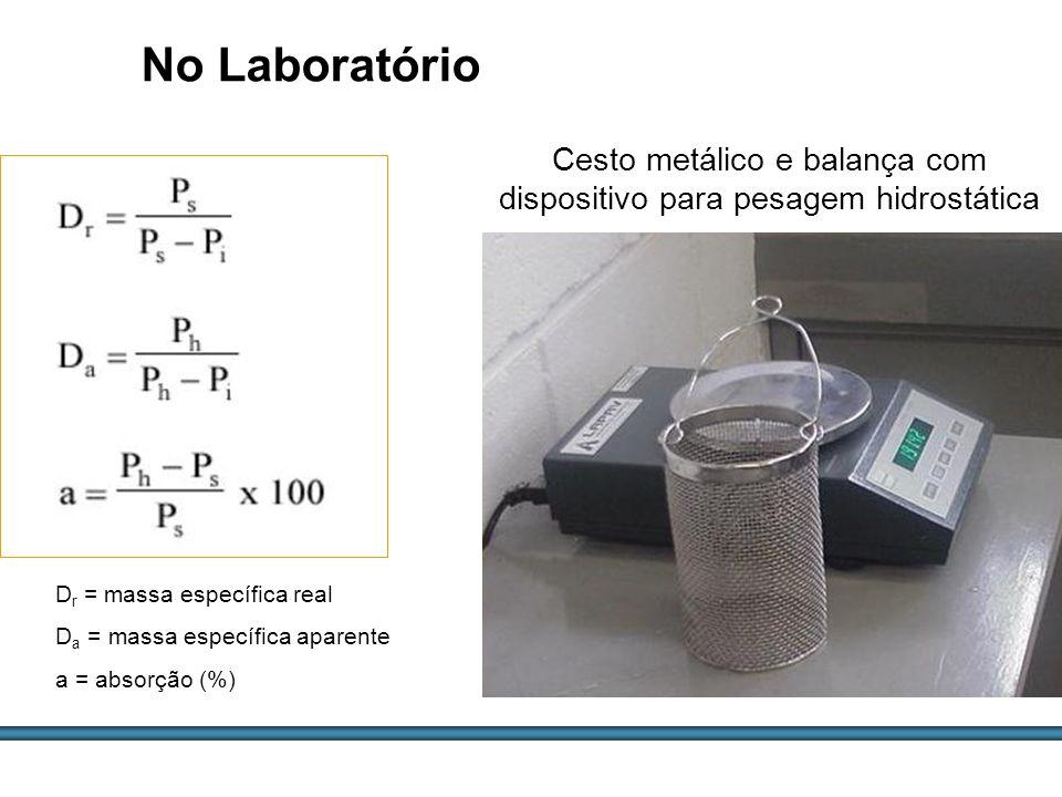 ESTUDOS DE AGREGADOS / 62 Cesto metálico e balança com dispositivo para pesagem hidrostática No Laboratório D r = massa específica real D a = massa es