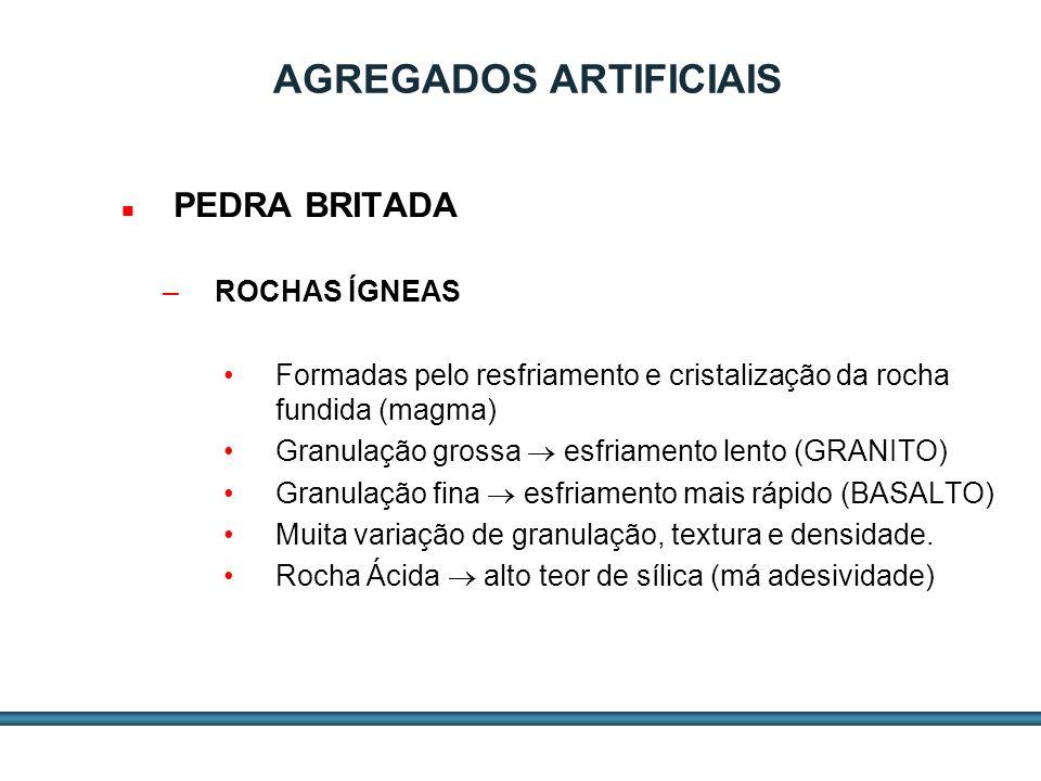 ESTUDOS DE AGREGADOS / 9 AGREGADOS ARTIFICIAIS PEDRA BRITADA –ROCHAS ÍGNEAS GRANULAÇÃOÁCIDASINTERMEDIÁRIASBÁSICAS Grossa (Plutônica) GRANITODioritoGabro+ Friável Média (Hipoabissal) GranófiloPórfiroDIABÁSIO Fina (Vulcânica)RiolitoAndesitoBASALTO- Friável Cor Clara Cor Escura Densidade Baixa Densidade Alta