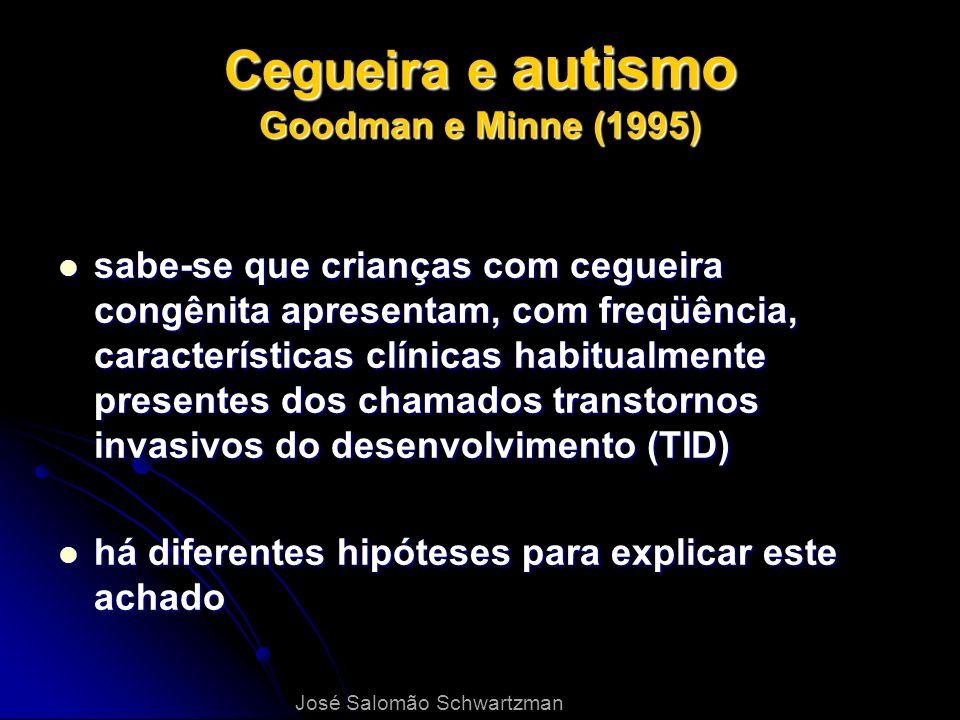 Cegueira e autismo Goodman e Minne (1995) sabe-se que crianças com cegueira congênita apresentam, com freqüência, características clínicas habitualmen