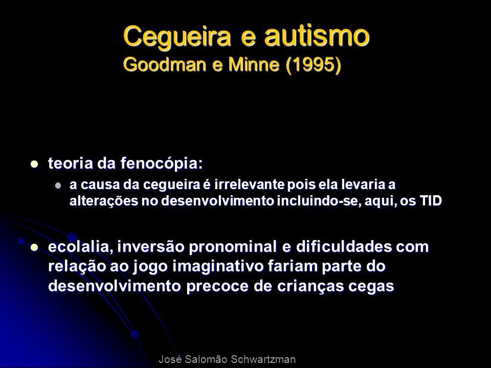 Cegueira e autismo Goodman e Minne (1995) teoria da fenocópia: teoria da fenocópia: a causa da cegueira é irrelevante pois ela levaria a alterações no