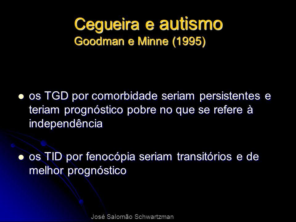 Cegueira e autismo Goodman e Minne (1995) os TGD por comorbidade seriam persistentes e teriam prognóstico pobre no que se refere à independência os TG