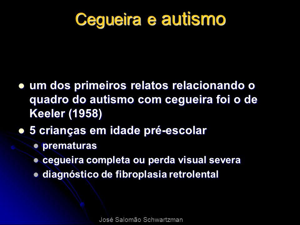 Cegueira e autismo um dos primeiros relatos relacionando o quadro do autismo com cegueira foi o de Keeler (1958) um dos primeiros relatos relacionando