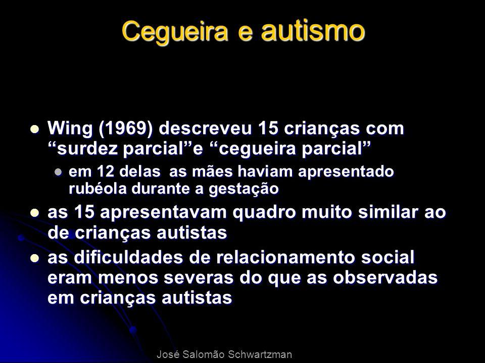 Cegueira e autismo Wing (1969) descreveu 15 crianças com surdez parciale cegueira parcial Wing (1969) descreveu 15 crianças com surdez parciale ceguei