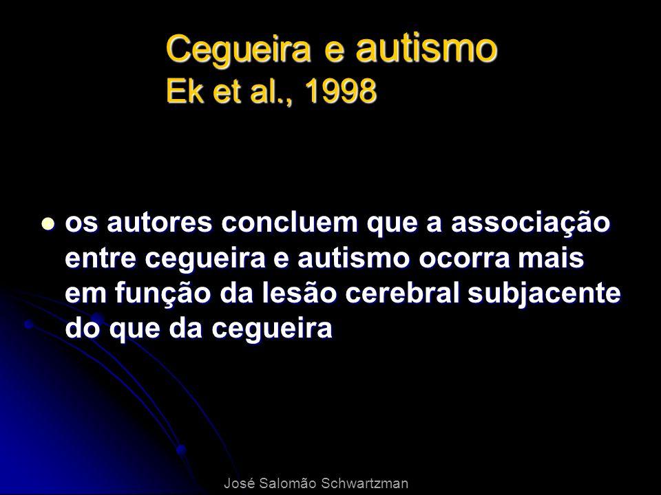 Cegueira e autismo Ek et al., 1998 os autores concluem que a associação entre cegueira e autismo ocorra mais em função da lesão cerebral subjacente do
