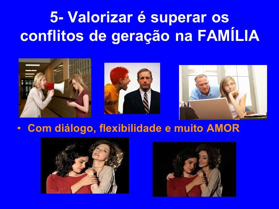 5- Valorizar é superar os conflitos de geração na FAMÍLIA Com diálogo, flexibilidade e muito AMOR