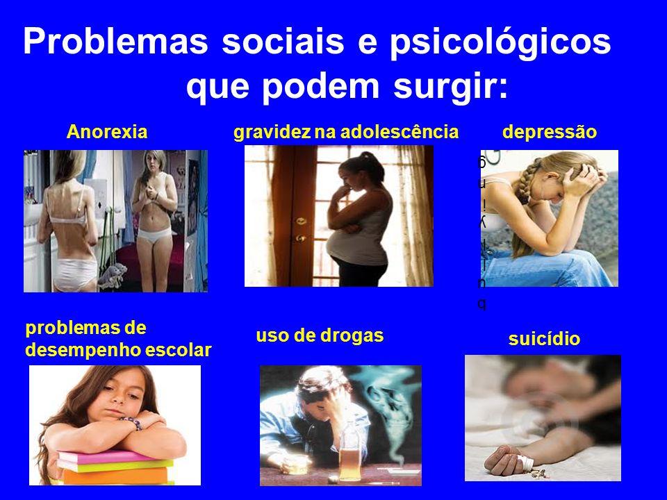 Problemas sociais e psicológicos que podem surgir: Anorexia gravidez na adolescência depressão problemas de desempenho escolar uso de drogas suicídio