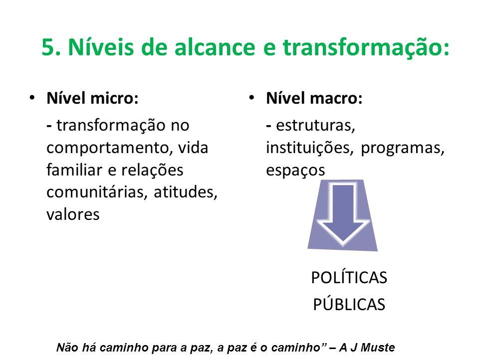 Nível micro: - transformação no comportamento, vida familiar e relações comunitárias, atitudes, valores Nível macro: - estruturas, instituições, progr