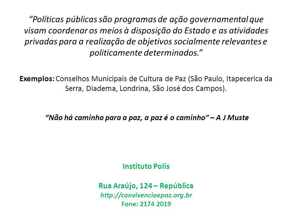 Políticas públicas são programas de ação governamental que visam coordenar os meios à disposição do Estado e as atividades privadas para a realização