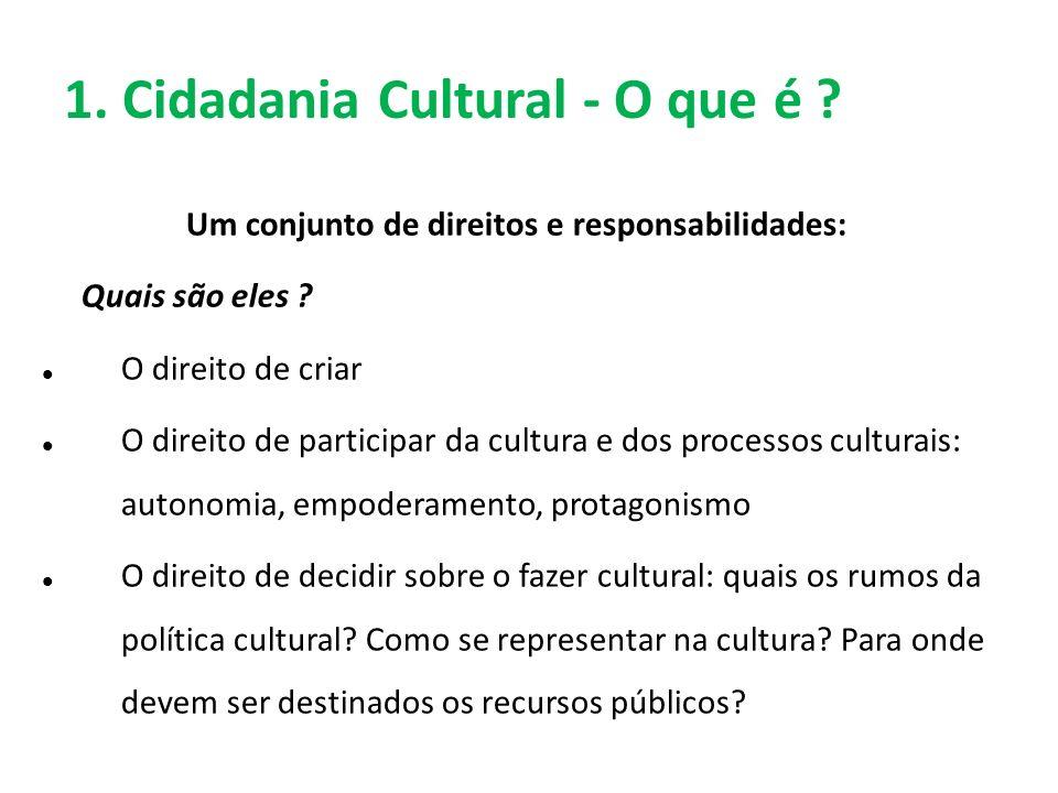 1. Cidadania Cultural - O que é ? Um conjunto de direitos e responsabilidades: Quais são eles ? O direito de criar O direito de participar da cultura