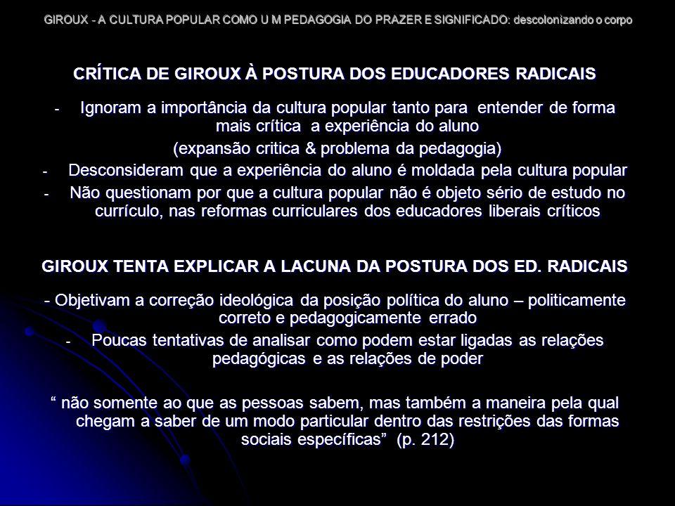 GIROUX - A CULTURA POPULAR COMO U M PEDAGOGIA DO PRAZER E SIGNIFICADO: descolonizando o corpo A CULTURA COMO UM LOCAL DE LUTA E DE RELAÇÕES DE PODER PRÁTICA CULTURAL = LOCAL E FORMA DE POLÍTICA CULTURAL PROJETO DE GIROUX: CONSTRUIR PRÁTICA EDUCACIONAL PARA POTENCIALIDADE HUMANA (último § 220-221 pp) CULTURA POPULAR = LOCAL DE POLÍTICA DIFERENCIADA – PESOS IDEOLÓGICOS E AFETIVOS MÚLTIPLOS CONCEITOS TEÓRICOS CATEGORIA PRODUTIVO construção e organização de práticas envolvidas por grupos dominante e subordinados para garantir espaço para produzir e legitimar experiências e formas sociais que constituem diferentes modos de vida nessas relações assimétricas de poder