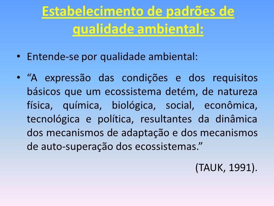 Entende-se por qualidade ambiental: A expressão das condições e dos requisitos básicos que um ecossistema detém, de natureza física, química, biológic