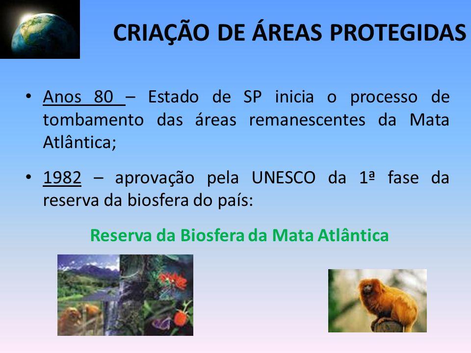 Anos 80 – Estado de SP inicia o processo de tombamento das áreas remanescentes da Mata Atlântica; 1982 – aprovação pela UNESCO da 1ª fase da reserva d