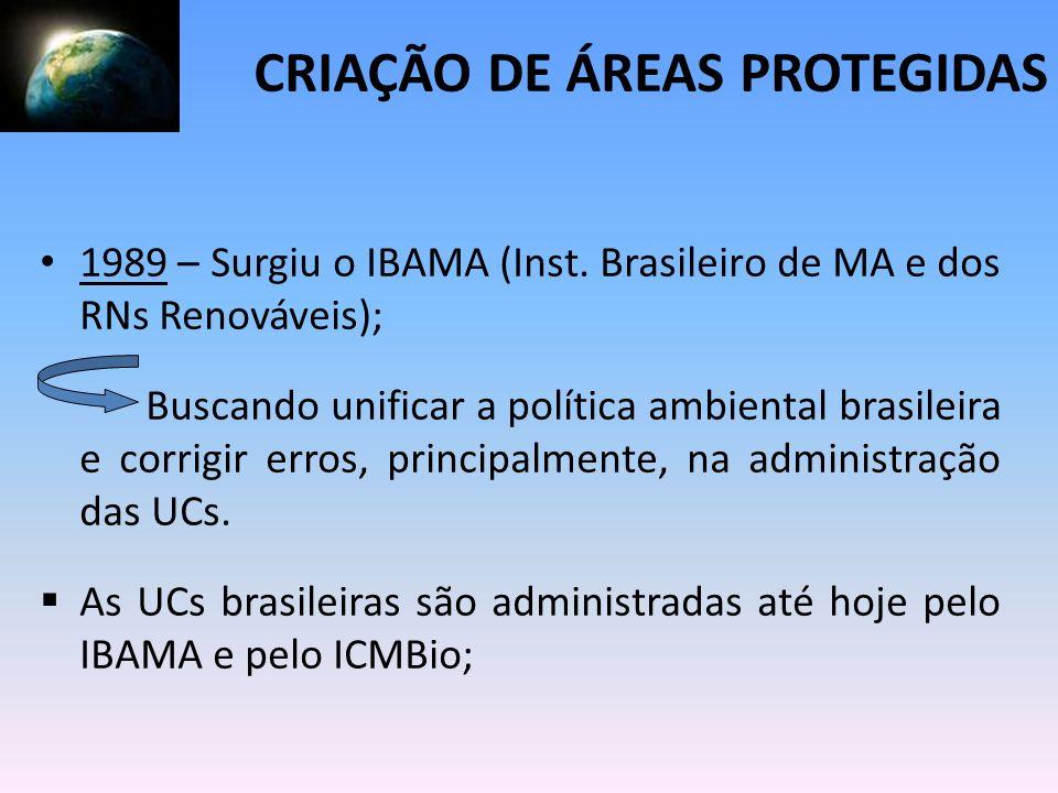 1989 – Surgiu o IBAMA (Inst. Brasileiro de MA e dos RNs Renováveis); Buscando unificar a política ambiental brasileira e corrigir erros, principalment