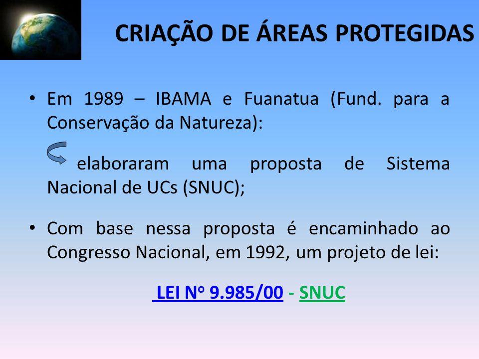 Em 1989 – IBAMA e Fuanatua (Fund. para a Conservação da Natureza): elaboraram uma proposta de Sistema Nacional de UCs (SNUC); Com base nessa proposta