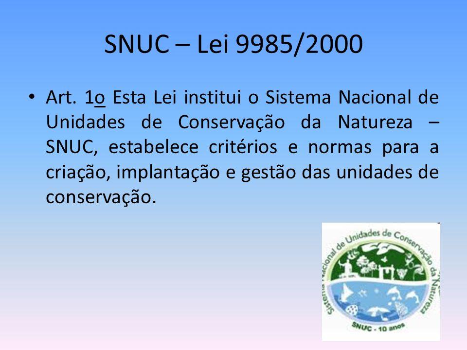 SNUC – Lei 9985/2000 Art. 1o Esta Lei institui o Sistema Nacional de Unidades de Conservação da Natureza – SNUC, estabelece critérios e normas para a