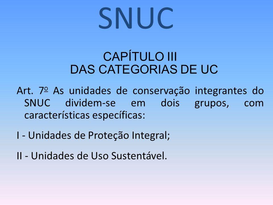 CAPÍTULO III DAS CATEGORIAS DE UC Art. 7 o As unidades de conservação integrantes do SNUC dividem-se em dois grupos, com características específicas: