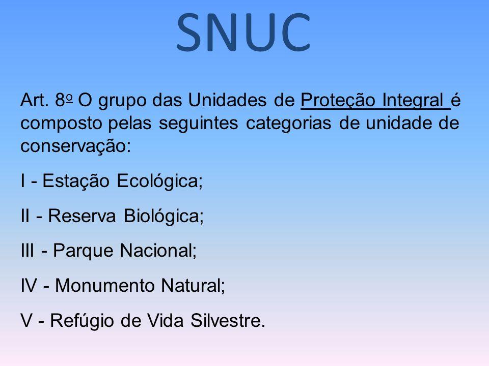 Art. 8 o O grupo das Unidades de Proteção Integral é composto pelas seguintes categorias de unidade de conservação: I - Estação Ecológica; II - Reserv