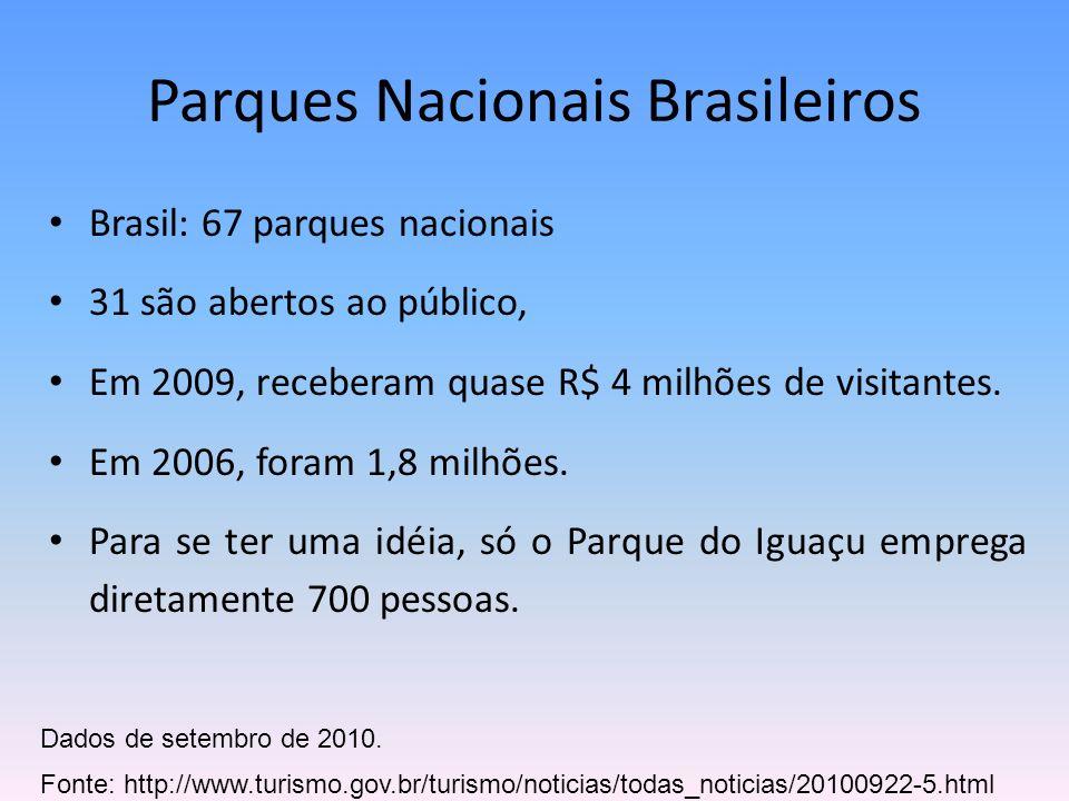 Brasil: 67 parques nacionais 31 são abertos ao público, Em 2009, receberam quase R$ 4 milhões de visitantes. Em 2006, foram 1,8 milhões. Para se ter u