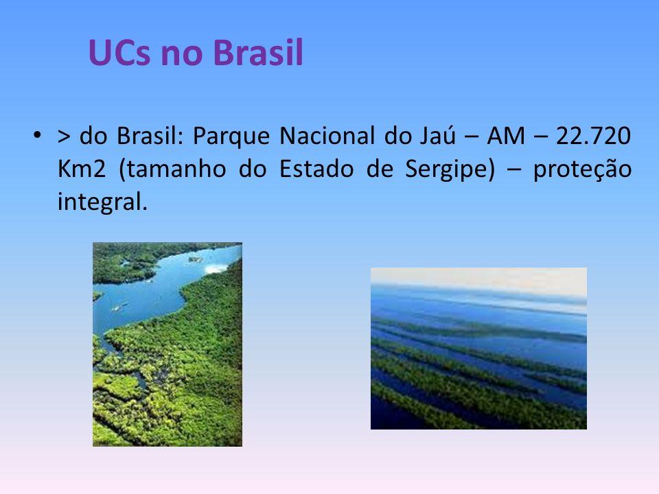 > do Brasil: Parque Nacional do Jaú – AM – 22.720 Km2 (tamanho do Estado de Sergipe) – proteção integral. UCs no Brasil