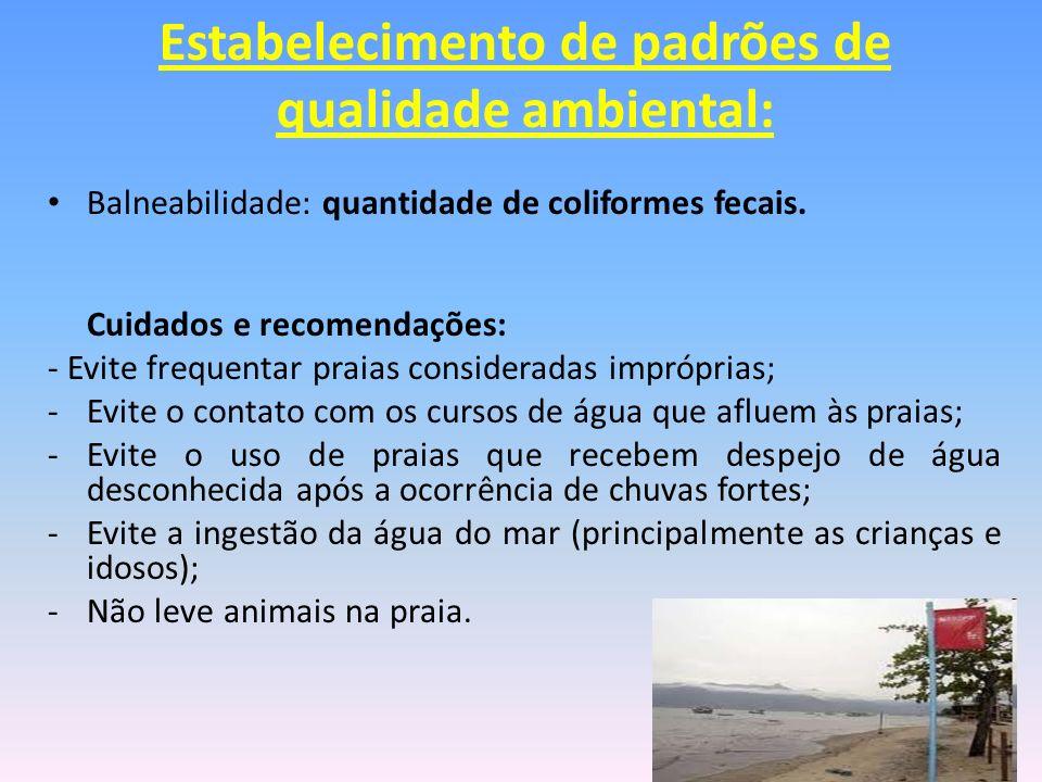 Balneabilidade: quantidade de coliformes fecais. Cuidados e recomendações: - Evite frequentar praias consideradas impróprias; -Evite o contato com os