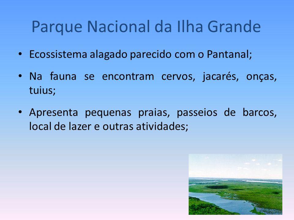 Ecossistema alagado parecido com o Pantanal; Na fauna se encontram cervos, jacarés, onças, tuius; Apresenta pequenas praias, passeios de barcos, local