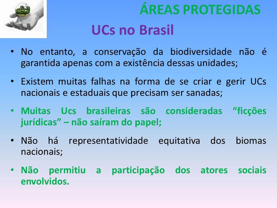 UCs no Brasil No entanto, a conservação da biodiversidade não é garantida apenas com a existência dessas unidades; Existem muitas falhas na forma de s